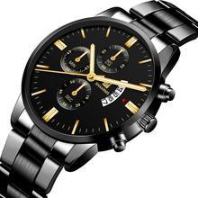 2019 Men Luxury Business Quartz Watches Stainless Steel Mens Military Waterproof Wristwatch Man Calendar Clock Shaarms Watch Hot