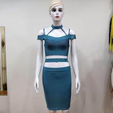 High quality women bandage dress halter V neck off the shoulder hollow out sexy waist empty sexy night club party dress(China)