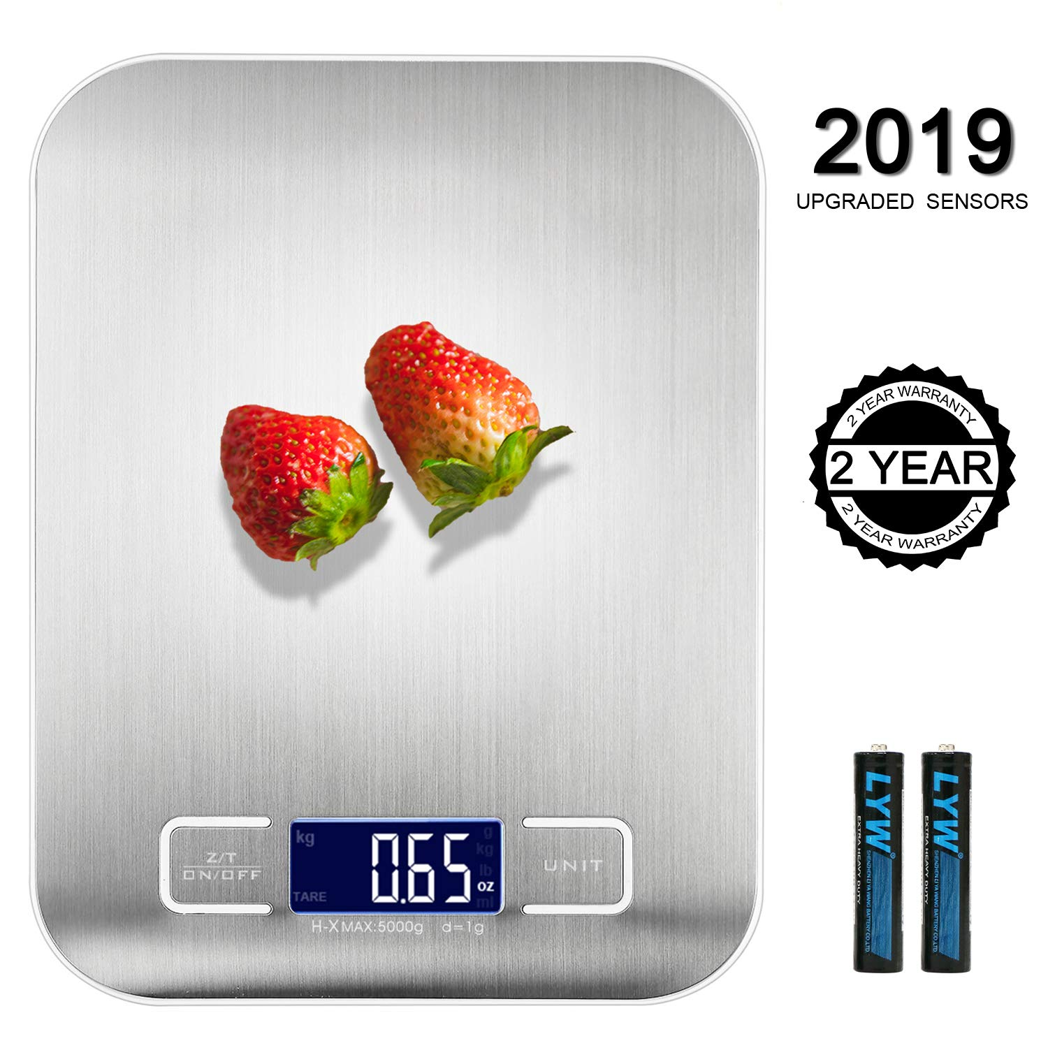 Food Scale - Kitchen Digital Weighs in Grams Kilograms Pounds Ounces g kg lb oz 11 Lb / 5 Kg Capacity S