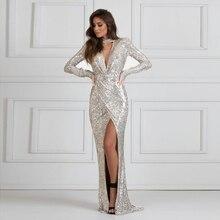 Сексуальная Холтер V шеи серебряное блестками Макси-Платье с разрезом ноги плиссированные стрейч Длина пола вечернее платье черный
