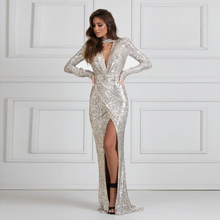 Sexy Halter N Neck Sequined Maxi Dress Split Leg pleated Sretch Floor Length Evening Party