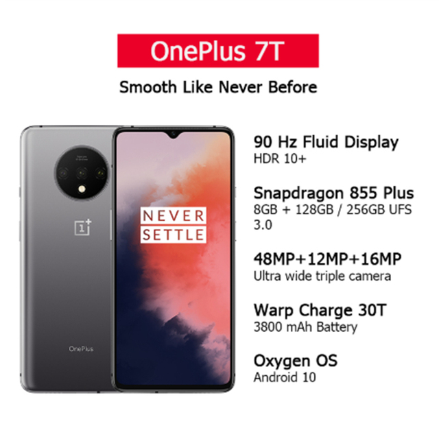 Global Rom OnePlus 7T 8GB 128GB Smartphone Snapdragon 855 Plus Octa Core 90Hz AMOLED Screen 48MP Triple Cameras UFS 3.0 NFC