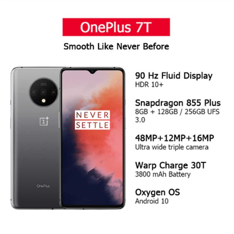 Küresel Rom OnePlus 7T 8GB 128GB Smartphone Snapdragon 855 artı Octa çekirdek 90Hz AMOLED ekran 48MP üçlü kameralar UFS 3.0 NFC