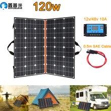 120W (2 PCS * 60W) 와트 Foldable 검은 태양 전지 패널 충전기 중국 모노 셀 PV 모듈 10A 컨트롤러 태양 담요 충전