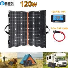 120W (2 PCS * 60W) watt Faltbare Schwarz Solar Panel Ladegerät China Mono Solarzelle Pv modul 10A Controller Solar Decke Lade