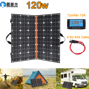 Image 1 - 120W (2 PCS * 60W) watt Faltbare Schwarz Solar Panel Ladegerät China Mono Solarzelle Pv modul 10A Controller Solar Decke Lade