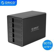 ORICO 5 מפרץ 3.5 USB3.0 HDD תחנת עגינה עם 150W פנימי כוח Adaper תמיכה 80TB UASP אלומיניום SATA ל usb 3.0 HDD Case