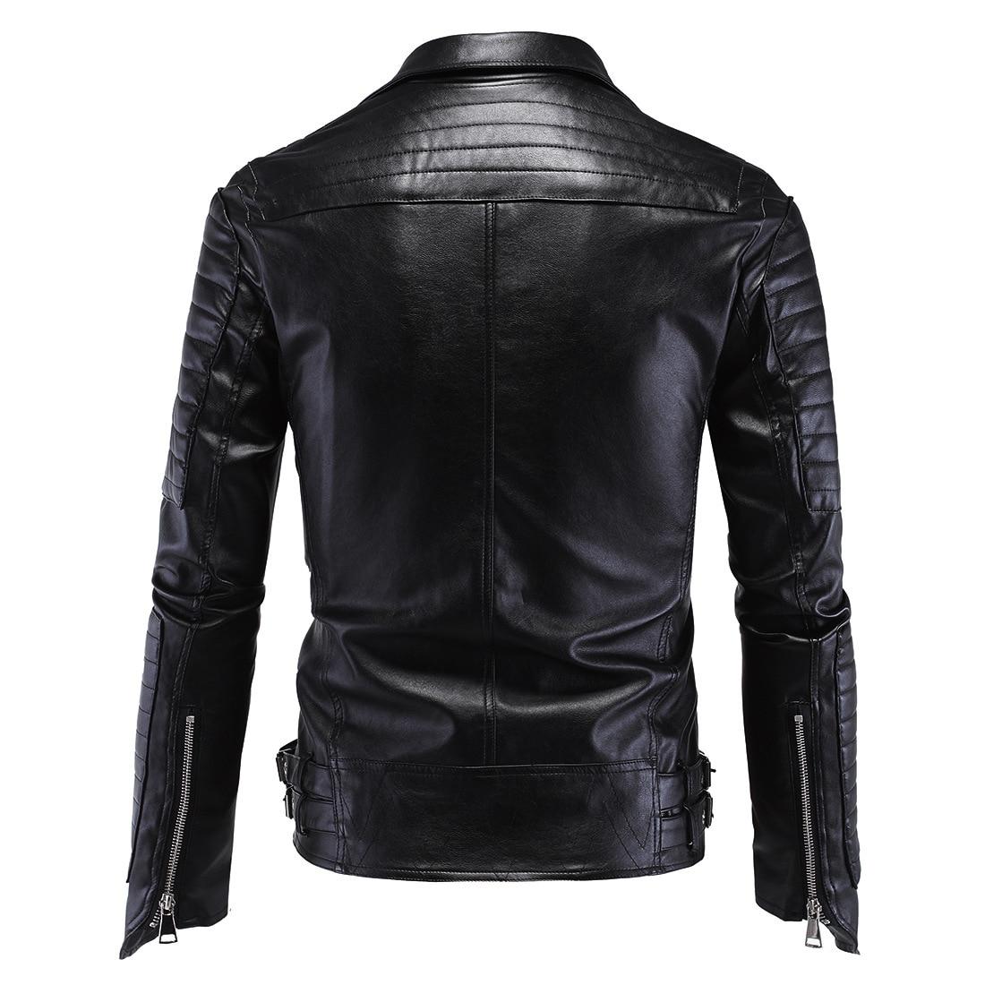 Erkek Kıyafeti'ten Yapay Deri Paltolar'de Erkek Deri ceket Ince erkek deri moda motosiklet Ince Harley deri ceket erkekler için'da  Grup 2