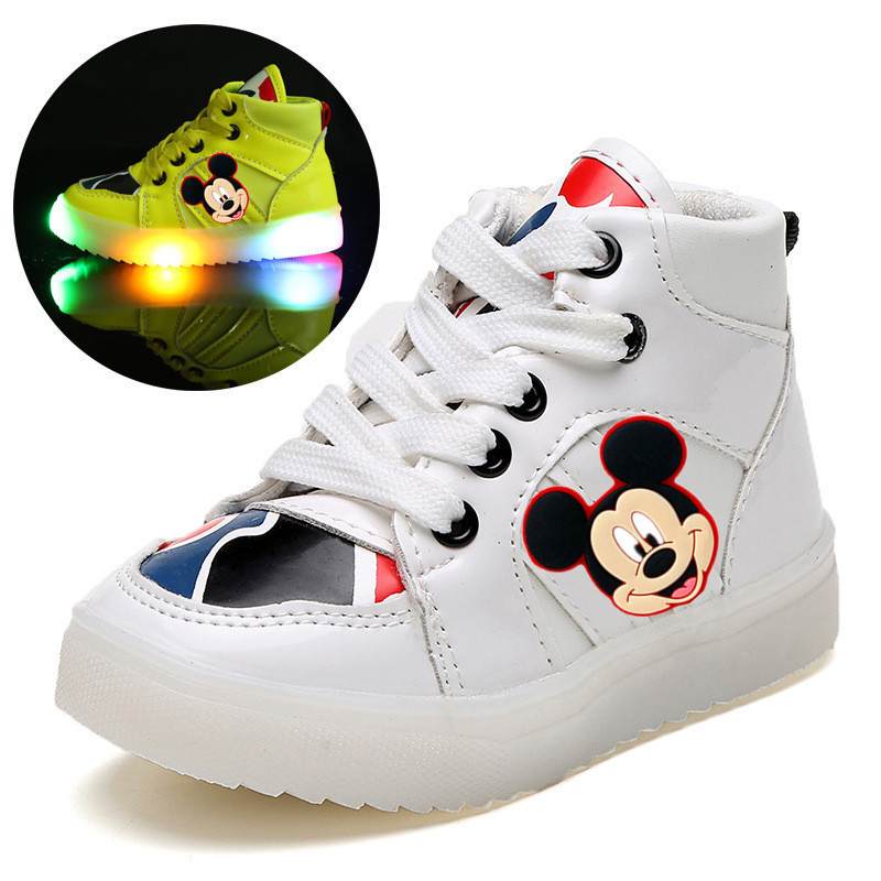 Disney children's cartoon Minnie Mickey autumn and winter boys casual shoes LED lights non-slip soft bottom