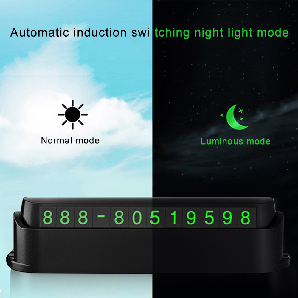 Image 2 - Universal Luminous Car Temporary Parking Card Car Sticker Car Air Freshener Phone Number Card Plate Car Accessories Automobile-in Car Stickers from Automobiles & Motorcycles