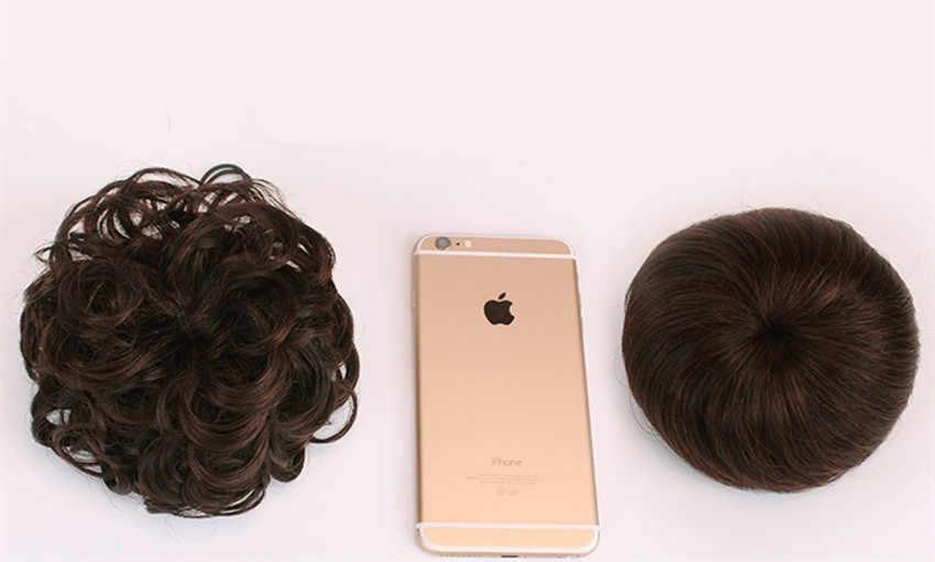 100% Rambut Manusia Bun Ekstensi Serut Chignons Potongan Rambut Wig Bergelombang Keriting Berantakan Palsu Tidak Remy Brasil Warna Coklat