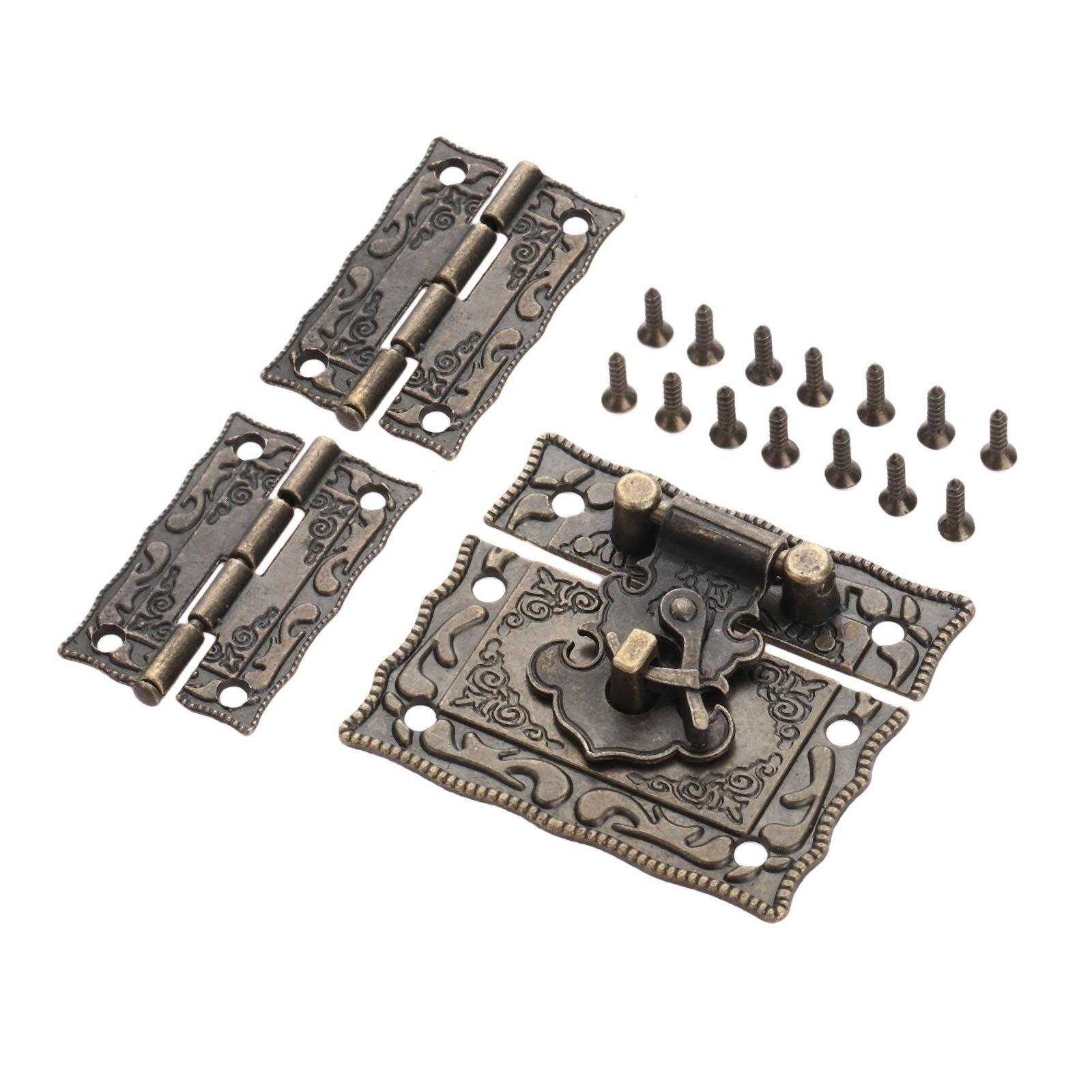 Antique Bronze Padlock Lock Jewelry Wood Box Latch Hasp Clasp +2pcs Suitcase Cabinet Hinge Vintage Furniture Decorative Hardware