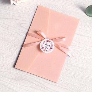 Image 3 - Cartão azul marinho da borgonha do rosa do convite do casamento de 50 pces com festa do envelope com fita e etiqueta