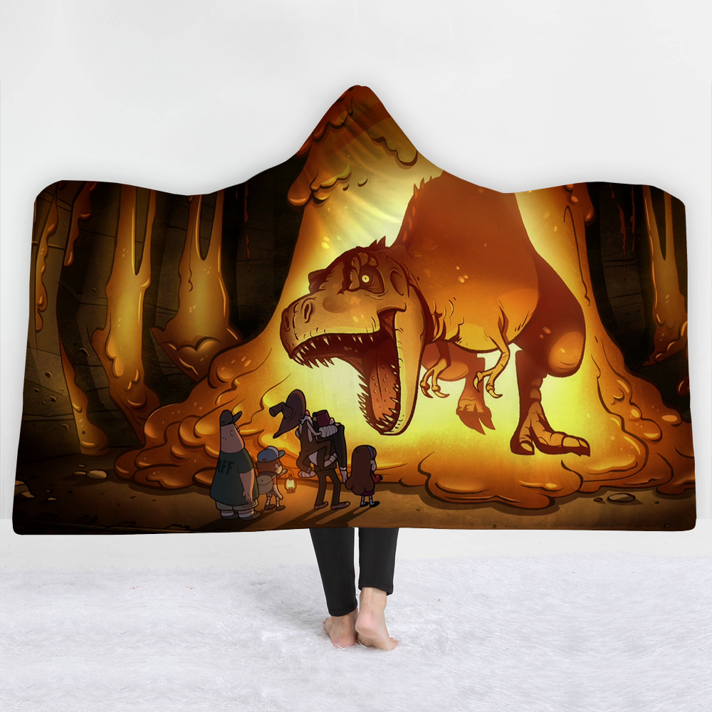 Dinosaur Magic Hooded Blanket For Home Travel Cartoon 3D Printed Portable Wearable Throw Adults Kids