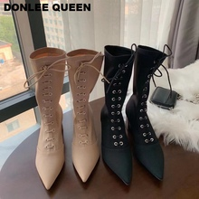Stretch Fabric Cross Strap Boots Women Sexy Pointed Toe High Heel Shoes Lace Up Brand Design Fashion Metal Boot