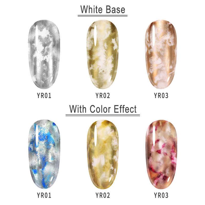 Elite99-esmalte de uñas en Gel con efecto floral, esmalte de uñas DIY con tinta de acuarela para fumar, barniz artístico para uñas metálico con Flor de Oro rosa y plata vieja, 10ml