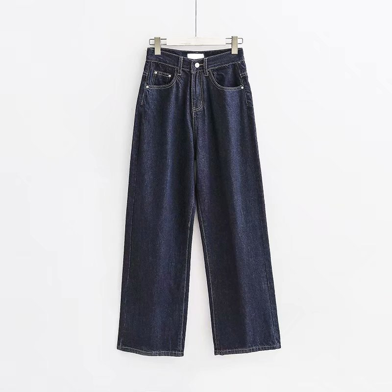 Women Vintage Button High Waist Straight Jeans Black High Street Denim Wide Leg Pants Pockets Loose Zipper Straight Pants