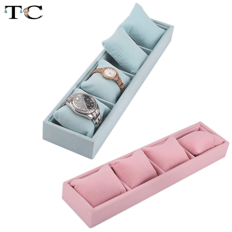 Jewelry Pillow Display Prop Watches Bracelet Showcase Watch Tray Bracelet Tray 4 Grids Jewelry Display Box