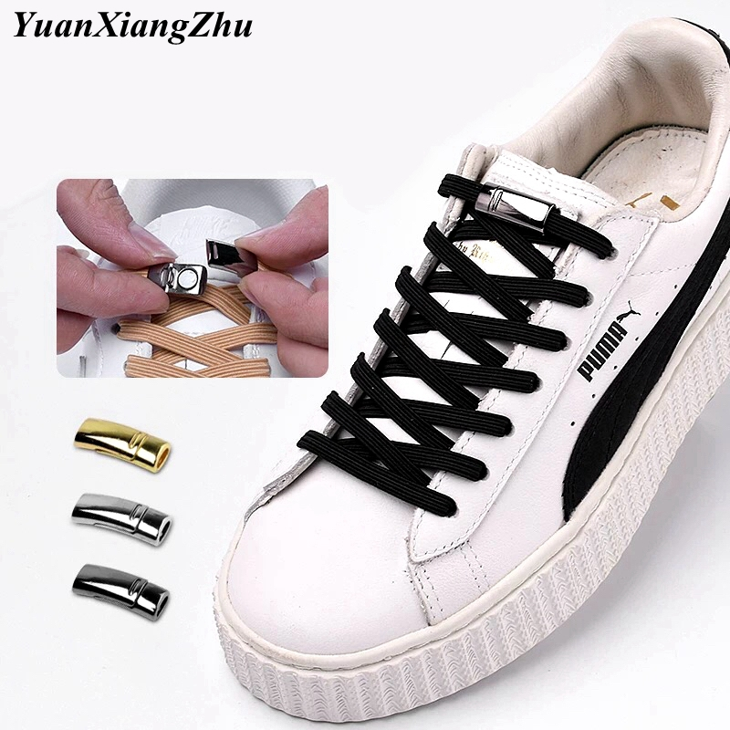 1Pair Quick Magnetic Locking Shoelaces Elastic No Tie Shoe Laces Kids Adult Unisex Sneakers Shoelace Lazy Laces 24 Color Strings