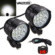 2PCS 90W 7000LM 6500K 10x XM-L T6 LED Motorcycle Headlight Spot Work Light Offroad Driving Fog Lamp with Switch