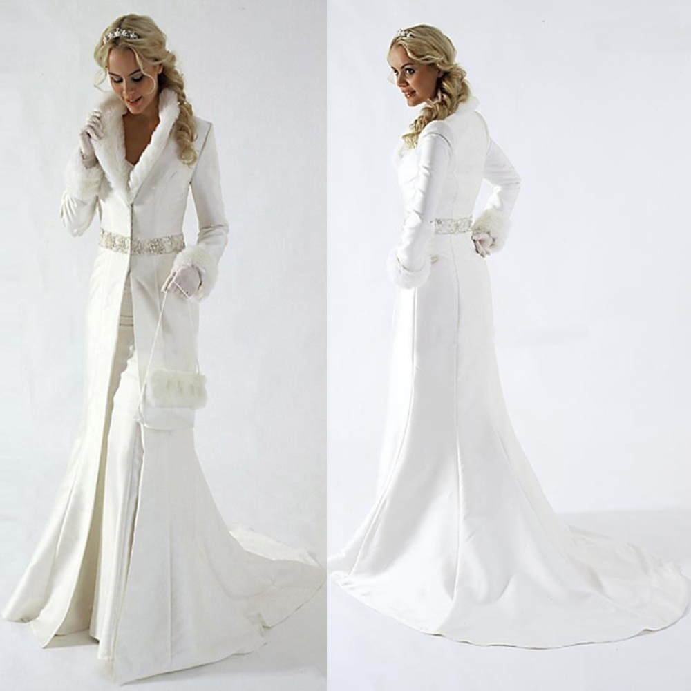 Modern Winter Bridal Jacket Long Sleeves Faux Fur Wedding Coat Cute Shawl Coat Satin Fabric With Faux Fur Party Cloak