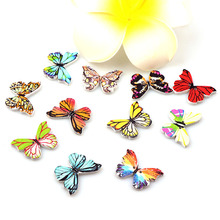 50pcs Beautiful Butterfly 2 Hole Wooden Buttons Scrapbooking Crafts DIY Fashion Clothing Sewing Accessories Decorations