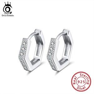 ORSA JEWELS миниатюрные серьги-кольца, подлинные серьги из стерлингового серебра 925 пробы с кубическим цирконием, круглые серьги, изящный подаро...