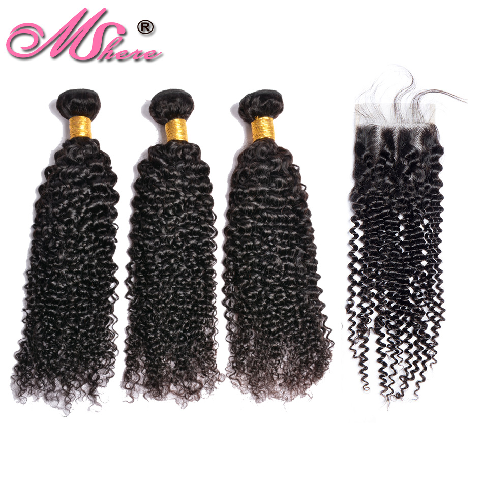 Mshere Kinky Curly Hair With Closure 3 Bundles Malaysian Hair Wave With Closure Non Remy Human Hair Bundle With Closure