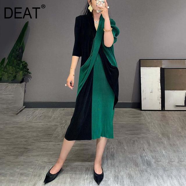 Elegant Pleated Dress Women  Hit Color Patchwork Slim Cross Design  1
