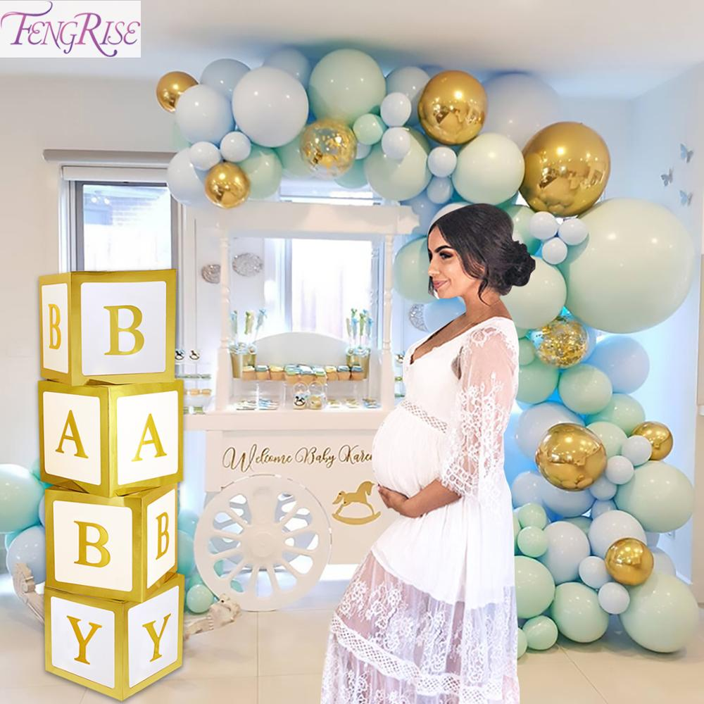 Gold Baby Shower Paperboard Box Baby Shower Boy Girl BabyShower First Birthday Party Decorations Name Baby Decor Party Supplies