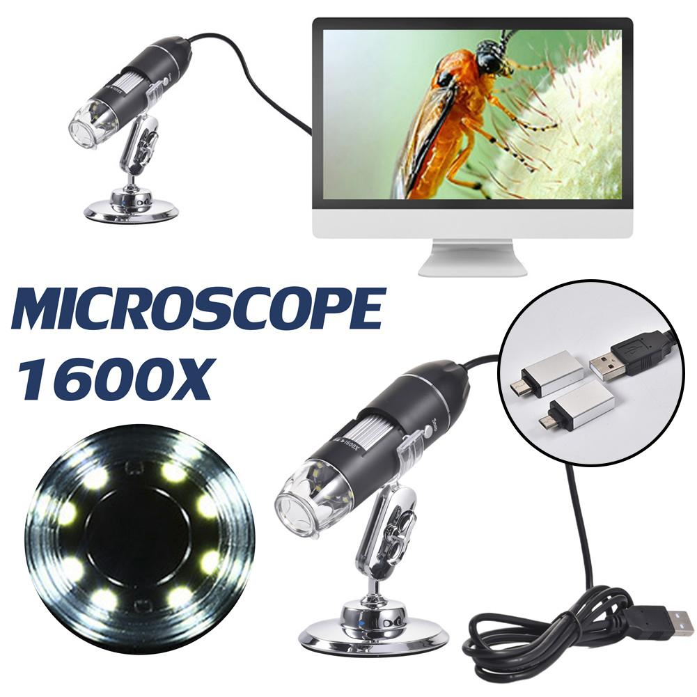 3 In 1 Digital Microscope 1600X Portable Two Adapters Support Windows Android Phones Magnifier
