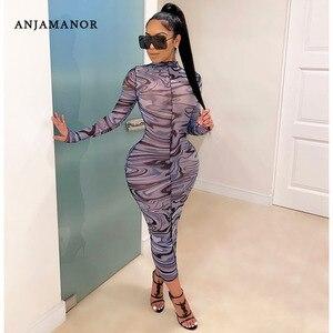 ANJAMANOR seksowna siatka sukienka dla kobiet jesień 2020 modny nadruk z długim rękawem Bodycon Maxi sukienki na nocna impreza sukienka do klubu D6-BF17