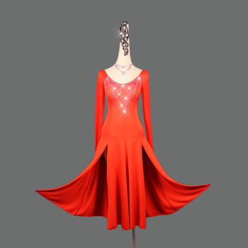 Latin Dance Dress Women Red Dress Club Performance Dress Stage Costume Sexy Long Sleeve Dance Clothes Competition Dancewear