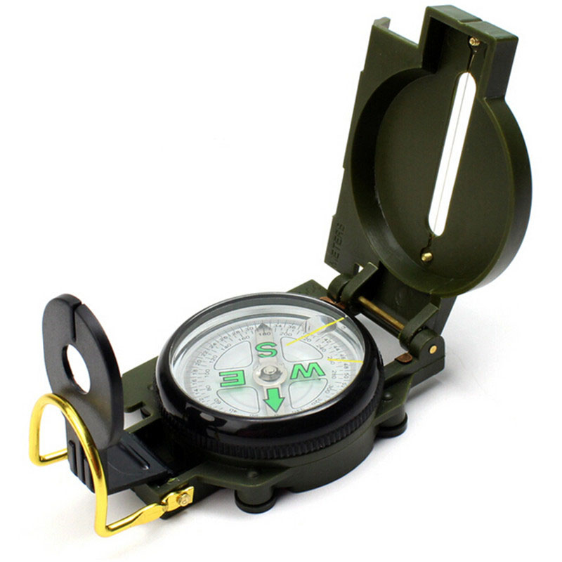 Portable Army Green Folding Lens Compass Military Multifunction Outdoor Compass Boat Compass Dashboard Dash