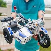550 قطعة تكنيك دراجة نارية الشرطة قوالب بناء كتل Sidecar موتوكروس نموذج تكنيك كتل سيارات لعب هدية