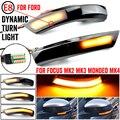 2 шт. Динамический указатель поворота светильник светодиодный боковое крыло зеркало заднего вида Индикатор мигалка светильник для Ford Focus 2 3 ...