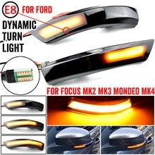 2 pçs dinâmico transformar a luz do sinal led asa lateral espelho retrovisor indicador blinker luz para ford focus 2 3 mk2 mk3 mondeo mk4