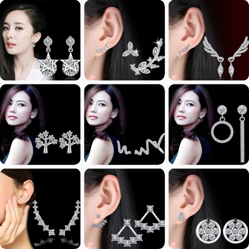 NEHZY 925 Stamp Silver Plated Jewelry High Quality Cubic Zirconia Retro Fashion Woman Round Flower Hollow Stud Earrings