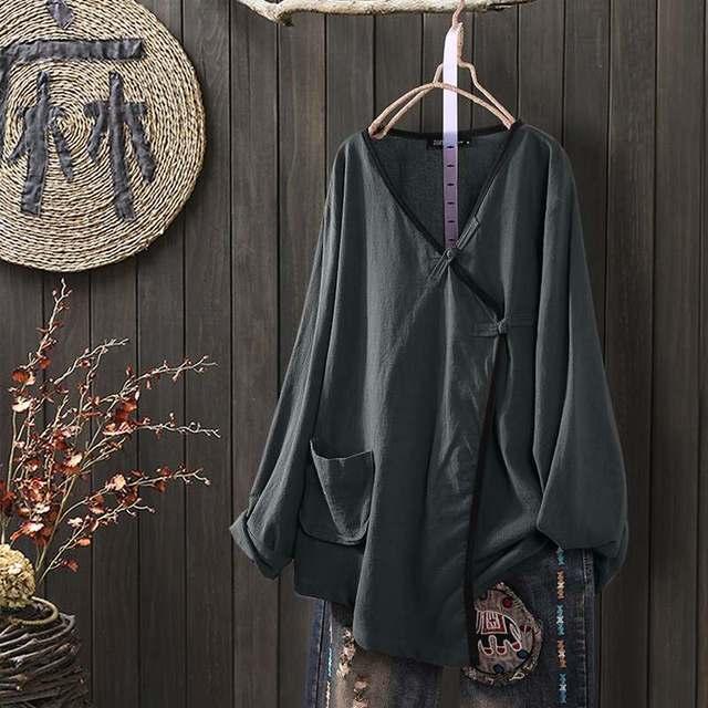 Long Sleeve Linen Blouse  2
