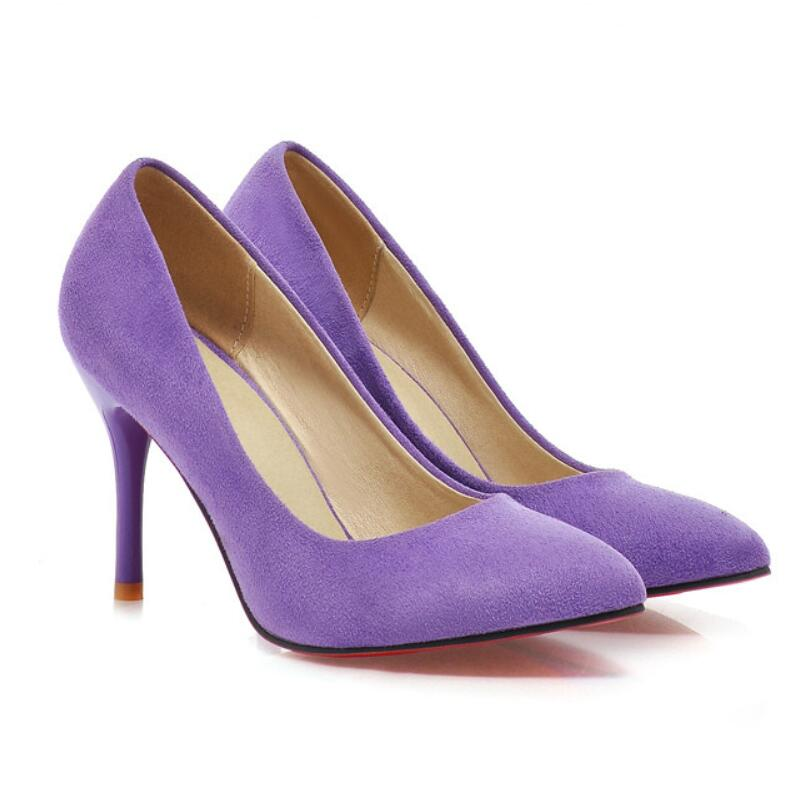 Red Bottom High Heels Spring Summer Wedding Shoes Pointed Toe Spool Heels Flock Sandals Pumps Fashion Sexy Party Purple MAZIAO