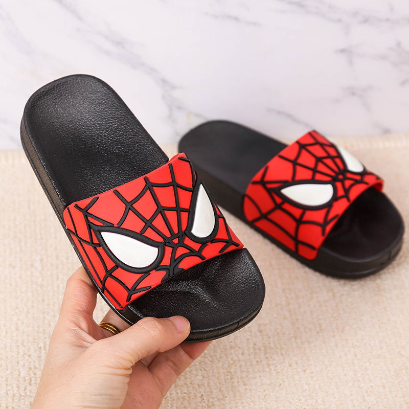 2020 Children Spider Man Barefoot Slippers Kids Boys Indoor Shoes Girls Outdoor Beach Water Sandals Cartoon Anime Superman Flops