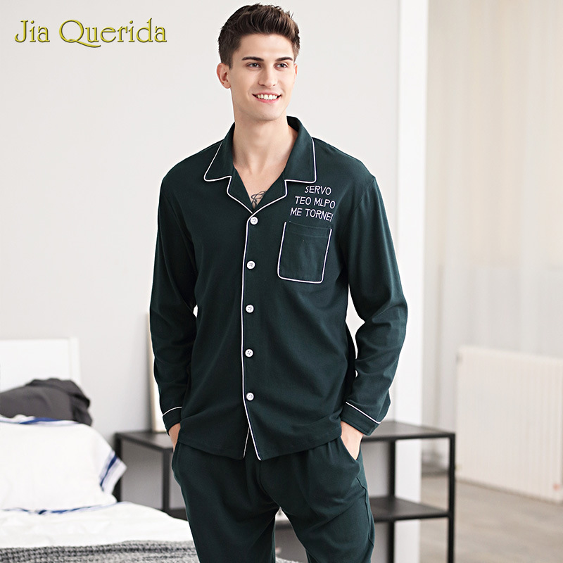 Pajamas Men Autumn Winter New 100% Cotton Cardigan Casual Home Clothing Long Sleeve Lapel Plus Size Suit Leisure Mens Sleepwear