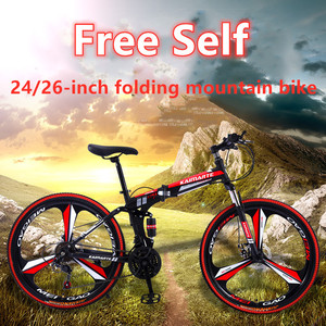 24/26-inch Folding Mountain Bike City Road Comfortable Student Variable Speed Double Damping Disc Brake Adult One-wheel Bicycle