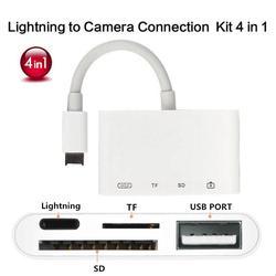 4 In 1 Lightning Ke USB Kamera Adaptor SD/TF Card Reader Kit untuk Iphonex XS 8/7 iPad USB 3.0 OTG Kabel 8 Pin Port Pengisian