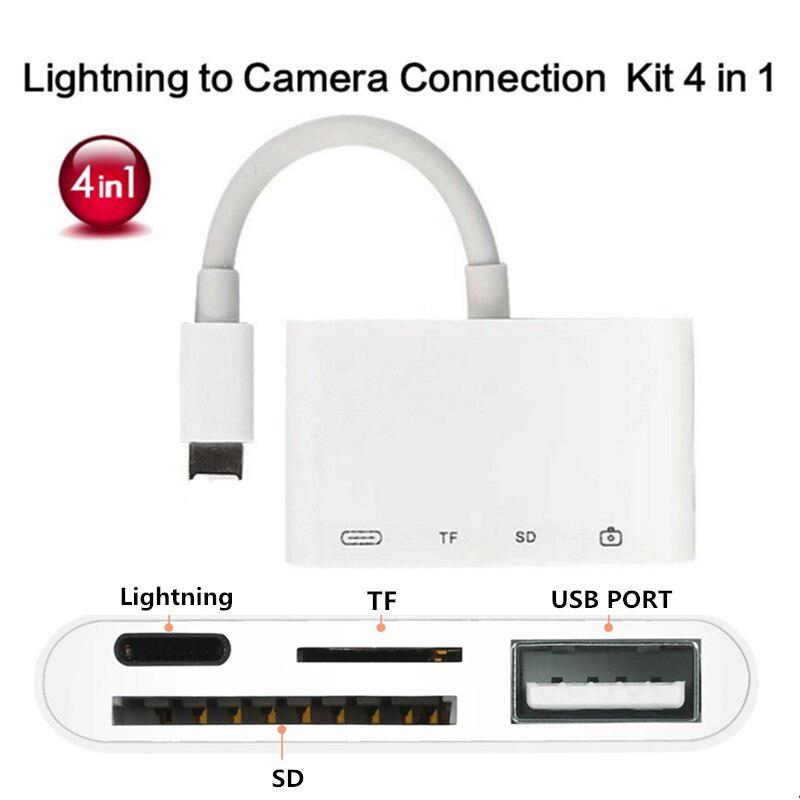 4 In 1 Lightning To USB Camera Adapter SD/TF Card Reader Kit For IphoneX XS 8/7 Ipad USB 3.0 OTG Cable 8 Pin Charging Port
