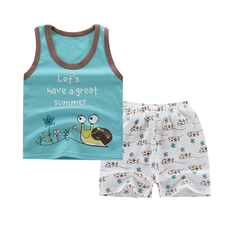 Summer Toddler Boy Clothes Baby Boy 2 Pcs Set  Kids Clothes Boys Girls Cartoon Vest Clothes Cotton Sleeveless T Shirts Suits