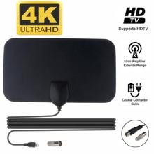 Kebidumei 4K 25DB 고 이득 HD TV DTV 박스 디지털 TV 안테나 EU 플러그 50 마일 부스터 활성 실내 공중 HD 평면 디자인