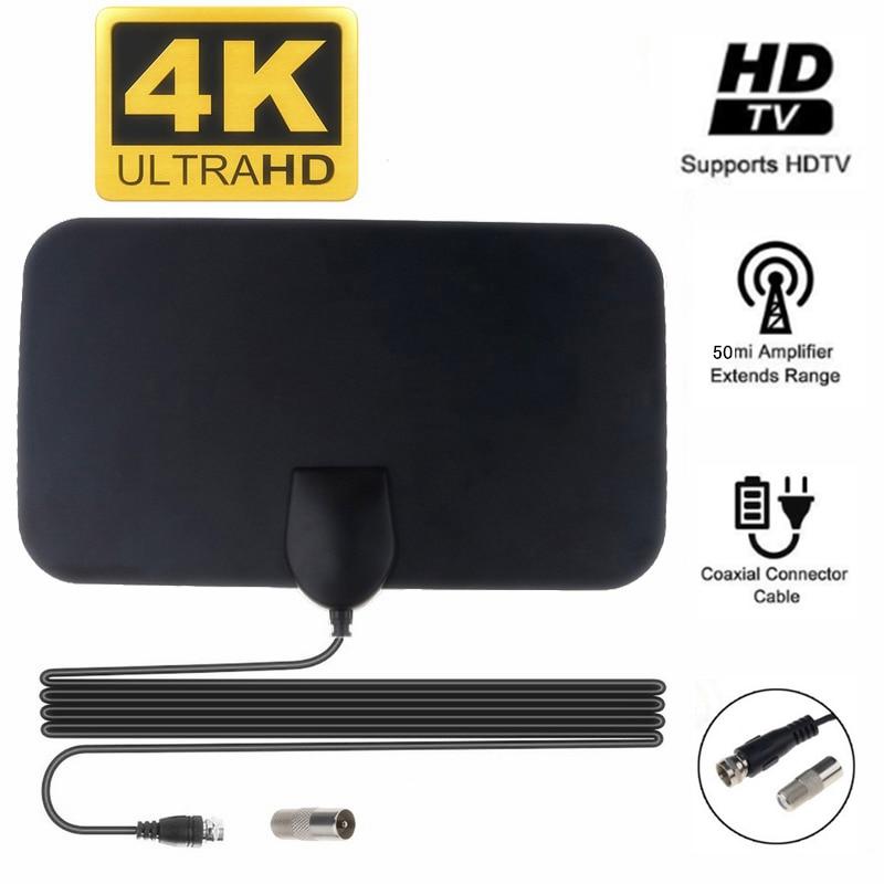 Цифровая ТВ-антенна, домашняя антенна 4K 25DB с высоким коэффициентом усиления, с вилкой стандарта ЕС, усиление на расстояние 80,5 км, плоский диз...