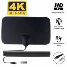 Kebidumei 4k 25db alto ganho hd tv dtv caixa antena de tv digital plugue da ue 50 milhas impulsionador ativo antena interna hd design plano