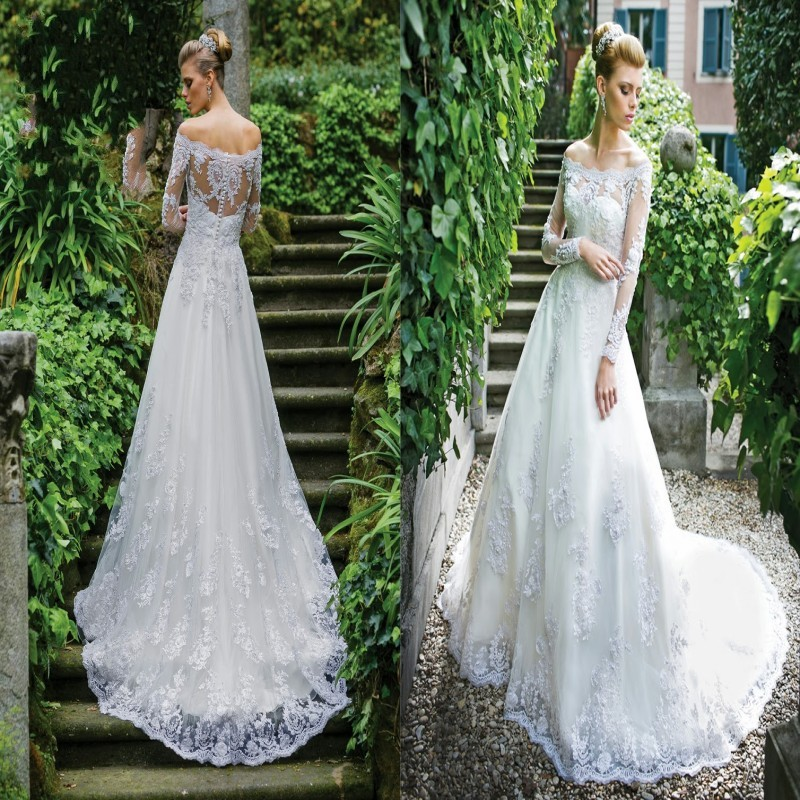 Vestido De Noiva Boat Neck Off The Shoulder Long Sleeve Lace Appliqued Hippie Bridal Gown 2018 Mother Of The Bride Dresses